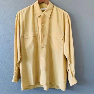 Vtg Equipment 100% Silk Button Up Shirt Ochre SZ S